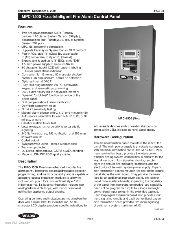 Faraday MPC-1500 Plus Fire Alarm Control Panel Data Sheet | PDF-Zoo