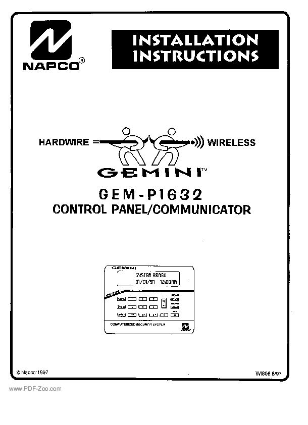 napco security group gem p1632 installation manual pdf zoo rh pdf zoo com GEM-P1632 Turn On Chime Napco Security